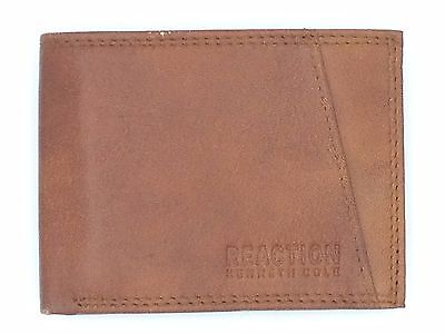 75 Kenneth Cole Mens Brown Leather Slim Bifold 9Cc Rfid Id Credit Card Wallet