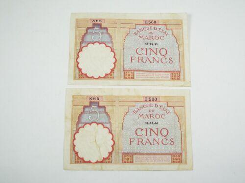 1941 Morocco 5 Francs - 2 Consecutive Bank Note