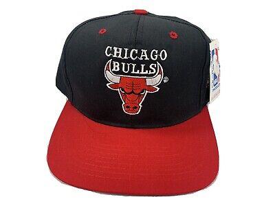 Vintage 90s Chicago Bulls Snapback Hat Cap Red Black- Embroidered Logo AJD