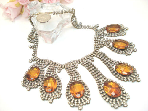 Costume Jewelry Vintage Style Husar D Czech Clear Gold Rhinestone Necklace