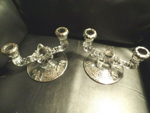 Antique Silver Clear Glass Set two double candle holders flower