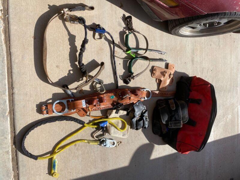 bashlin floridian climbing belt D22, cynchlok fall arrest, Gaffs and secondary.