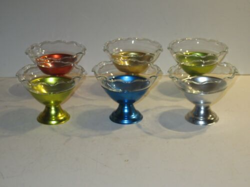 Mid-Century Modern Colorama Aluminum Sherberts With Glass inserts Set of Six