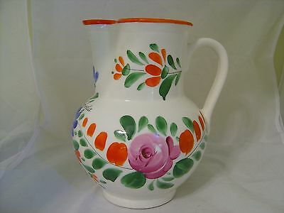 VINTAGE HAND PAINTED RUSSIAN POLISH LARGE FLORAL PITCHER