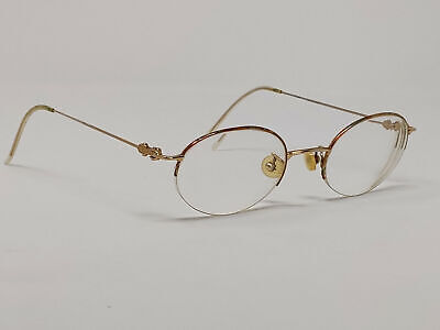 Vintage Gucci Womens Fashionable Eyeglasses Gold Round Metal Frame Only A&S