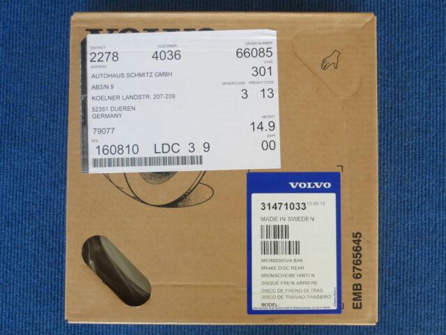 Original Volvo XC60 Bremsscheibe hinten  Teile-Nr.: 31471033  Stückzahl: 1