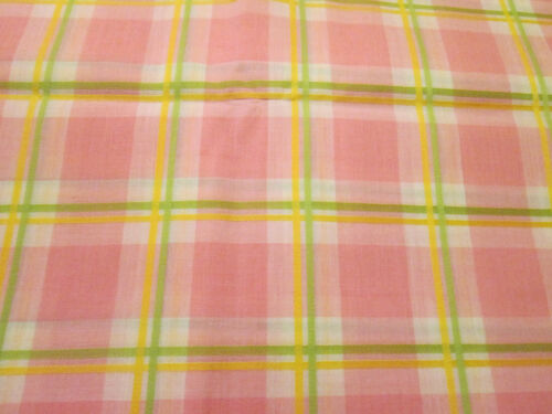 Vintage Fabric Pink Green Yellow White Plaid 3 Yards 44""