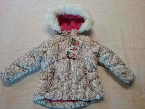 WEATHERPROOF Little Girls Hooded Coat W/Faux Fur White Sweater Print Sz-3T NWT