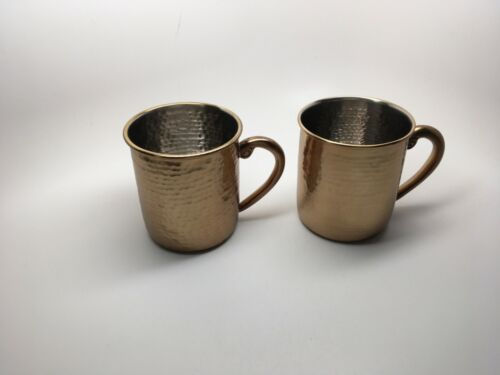 """Pair (2) Williams Sonoma """"Moscow Mule"""" Hammered Copper Handled Mugs - NEW!"""