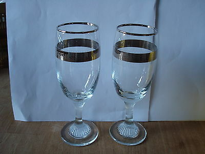 "A PAIR OF CLEAR FLUTED GLASSES 'BEST WISHES' FOR SILVER WEDDING APPROX. 6"" TALL"