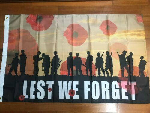 Lest We Forget Remembrance Day Red Poppy Military Solider Veteran Flag