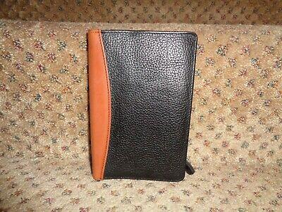 Franklin Quest Covey Black Verona Brit Tan Aniline Leather Binder Close Wallet
