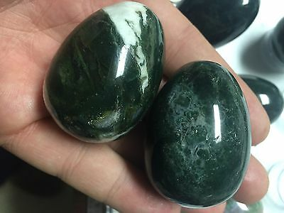 45mm Polished Green Moss Agate Egg Stone Ball W Stand