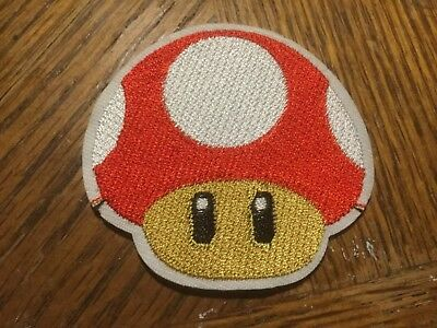 Super Mario Brothers Patch RED Mushroom One Up Embroidered Iron On