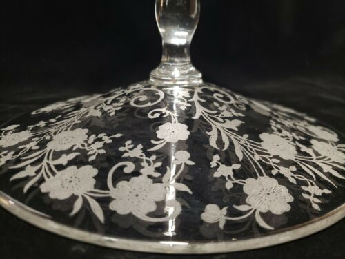 Fostoria BUTTERCUP Tall Compote Dish Glass Elegant ETCHED 7 3/8  - $10.00
