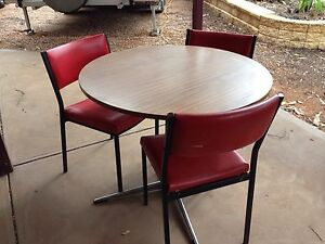 Wooden circular sturdy table(laminated) 3 red metal chairs Monash Berri Area Preview