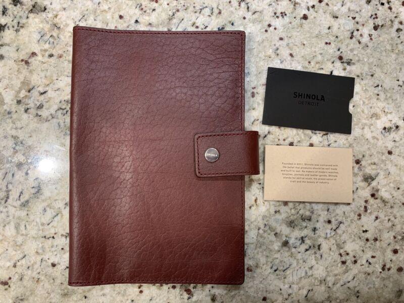 New! $195 SHINOLA Detroit Med Burgundy Leather Journal Ipad Mini Cover. USA Made