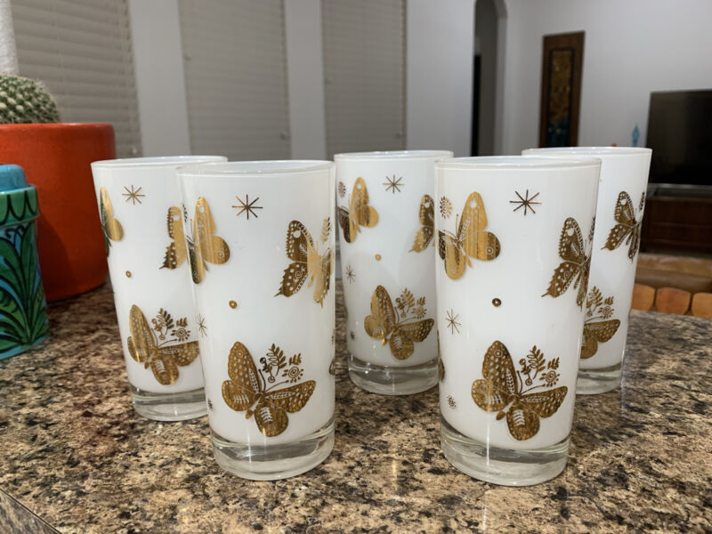 Lot of 5 Vintage Georges Briard Frosted Gold Butterfly Highball Glasses Barware