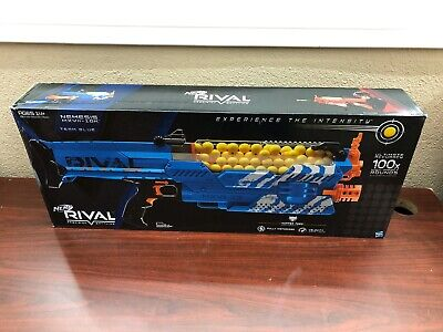 2 Hasbro Nerf Rival Nemesis MXVII-10K Red And Blue With Rechargeable Batteries