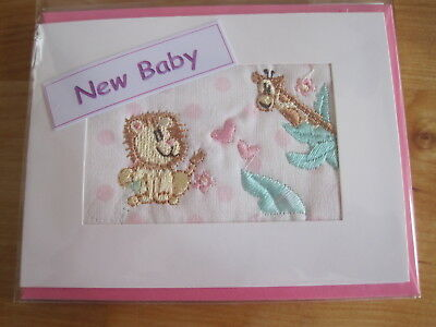 SMALL HAND MADE NEW BABY GIRL CARD.  SUPER EMBROIDERED GIRAFFE DESIGN.