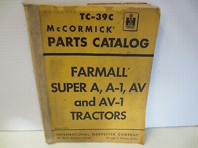 International Mccormick Farmall Super A A-1 Av Av-1 Tractor Parts Catalog