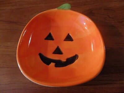 East West Distributing Co. Ceramic Jack O'Lantern Pumpkin Candy Dish #3106