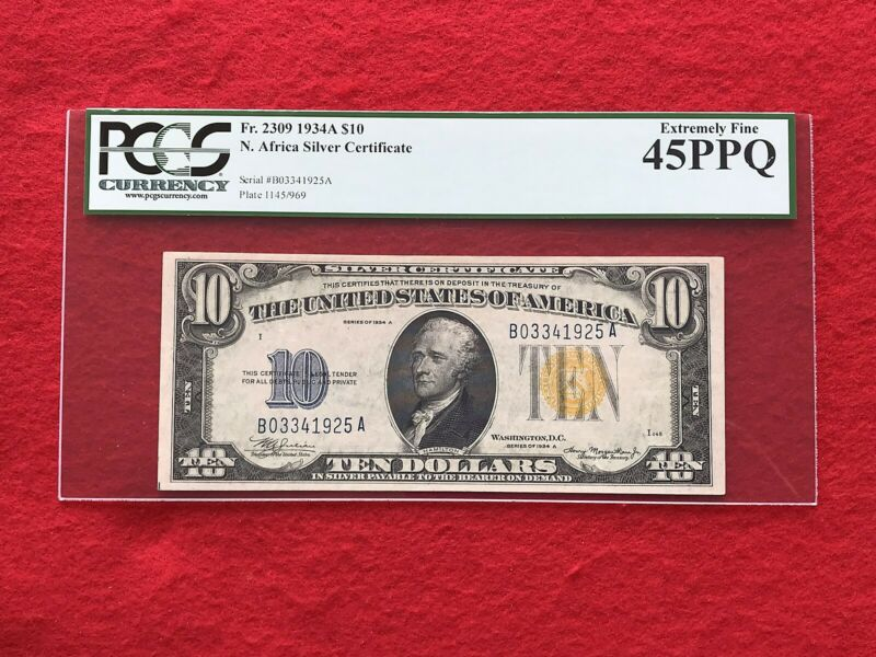 FR-2309 1934 A Series North Africa WWII $10 Silver Certificate *PCGS 45 PPQ*
