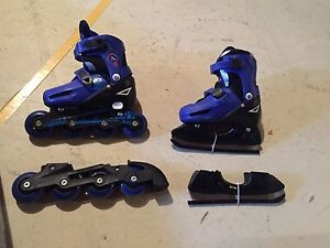 Air walk Adjustable 2 in 1 inline and ice skates (Size 12-2)