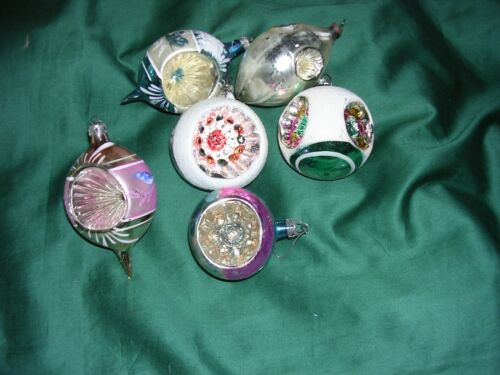 """#DD Vintage Lot of 6 Christmas Tree Ornaments Mercury Glass 3-4"""" indents Poland+"""