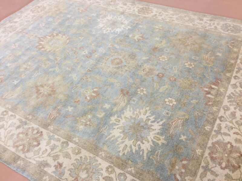 8 X 10 Muted Blue Beige Oushak Geometric Persian Oriental Area Rug Hand Knotted