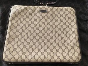 d12761675cb NEW Gucci GG Brown Leather Canvas Laptop Case Sleeve or Clutch