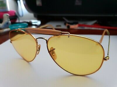 1970s 22K Gold Plated Rayban Aviator Glasses with Yellow Tint Lens by B&L (Yellow Tinted Aviators)
