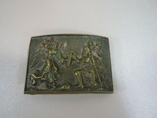 Brass Masonic Templar Belt Buckle with Angel and Knight