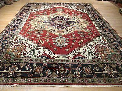 10x14 Museum Heriz Serapi Vegetable Dye Hand-made-knotted Wool Rug 580526