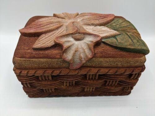 Vintage Hand Carved Wood Jewelry Box Lily Flower Honduras