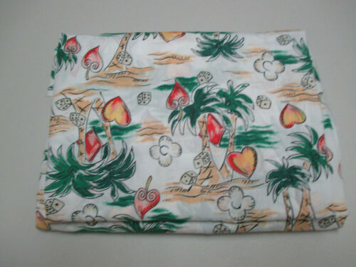 Vintage Cotton Fabric Novelty Island Print Palm Trees Dice Hearts 4 Yards