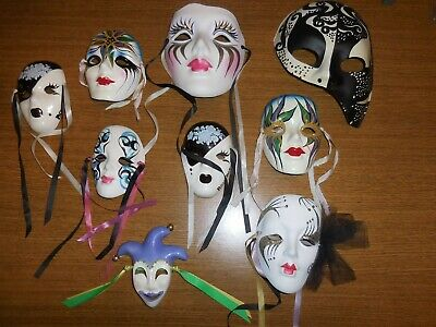 Marti Gras Collector Ceramic Masks signed and dated plus feather masks](Marti Gra)