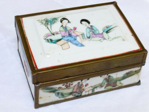 CHINESE ANTIQUE/VINTAGE OLD Hand Painted Porcelain Brass Trim BOX