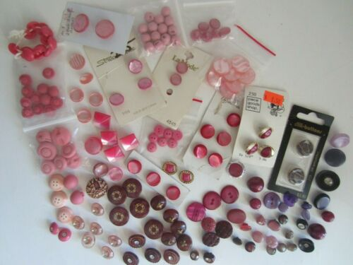 189 Vintage PINK, MAROON & PURPLE BUTTONS LOT