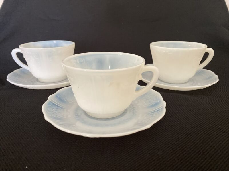 3 MacBeth Evans AMERICAN SWEETHEART Cup & Saucer Sets  Monax Depression Glass