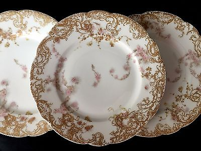 H&Co Limoges Schleiger 247 Salad Dessert Plates Set of 3 Three Vintage China