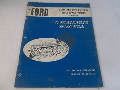 Ford Series 118 Four And Five Bottom Moldboard Plows Operators Manual