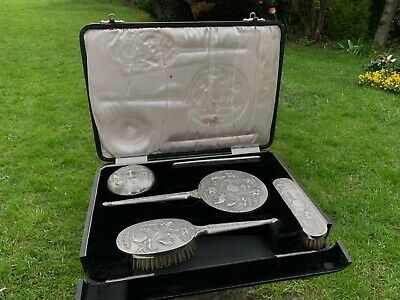 RARE ANGO INDIAN COLONIAL SILVER DRESSING TABLE SET. CASED. 1910.