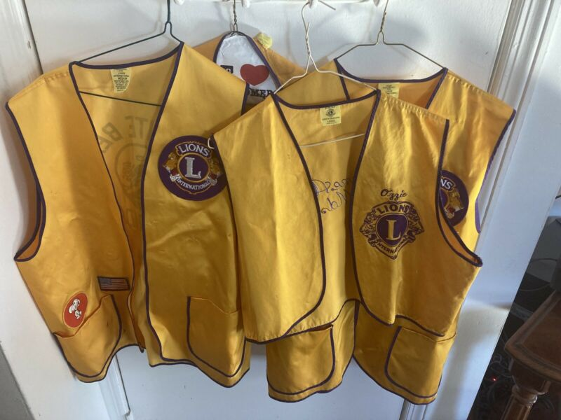 4 Vintage Lions Club Vests 3 Size L & 1 XL Made In USA