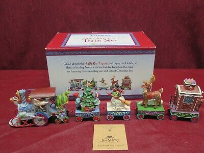 Enesco Jim Shore Heartwood Creek North Star Express Christmas Holiday Train Set