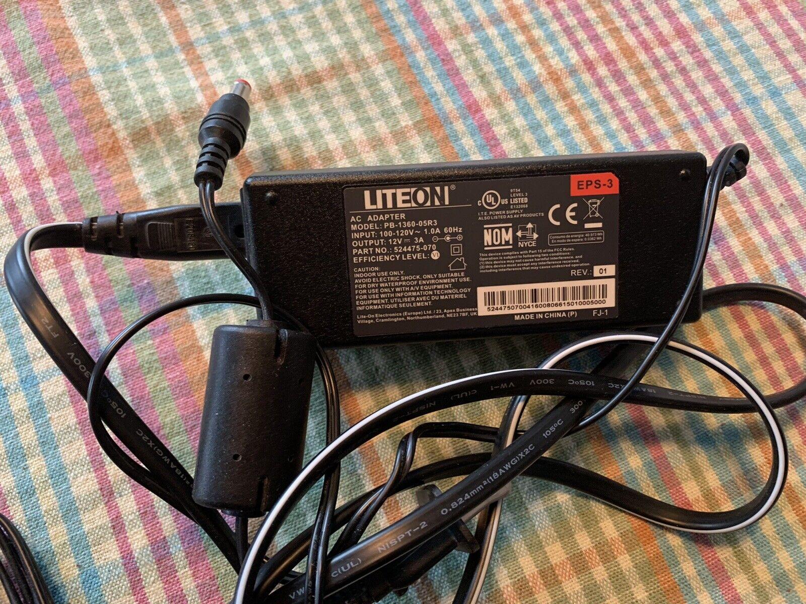 New LiteOn AC Adapter Model PB-1360-05R3 100-120V 60Hz 12V  - $4.99