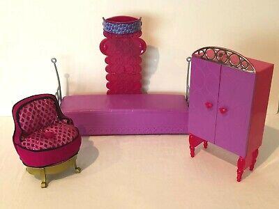 Barbie Bedroom Set Doll House Furniture Purple Sofa Daybed Vanity Dresser Chair