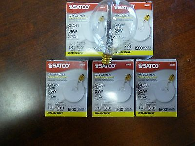 5 FIVE SATCO 25 watt Light Bulbs Fits Full Size Scentsy Warmers FREE SHIP