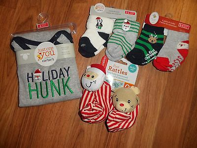 boys 0 - 6 months My First Christmas socks by Carter's & foot rattles & bodysuit