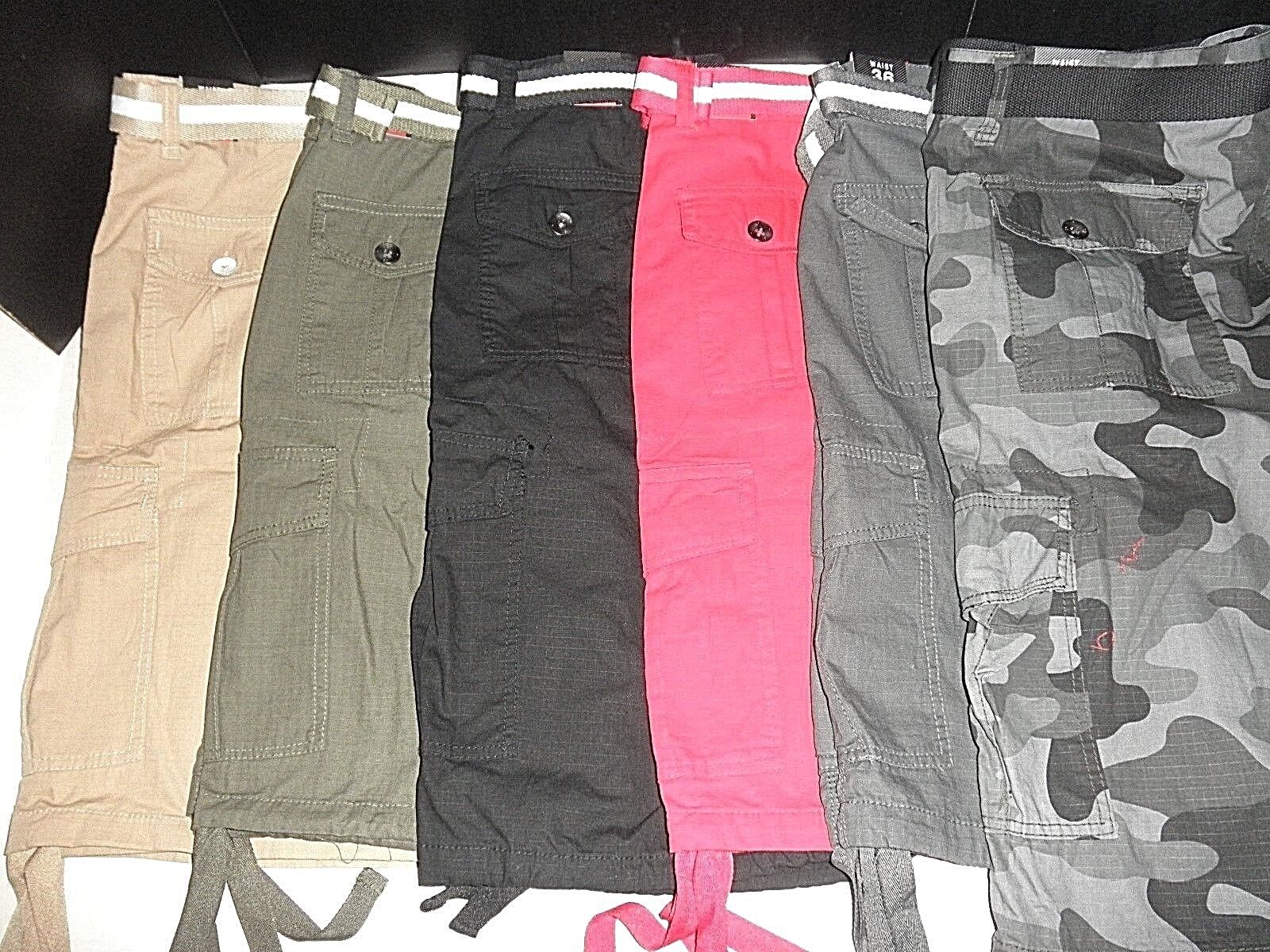 NWT Mens Southpole® Cargo Shorts w Matching Belt: Camo, Gre